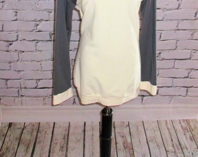 Ivory and Gray Baseball Sleeve Organic Hooded Sweatshirt,