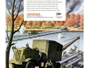 1943 WWII Army Engineers Autocar & Philadelphia Blended Whiskey Liquor Print Advertisement Ad Poster Wartime World War Two II Wall Art Decor