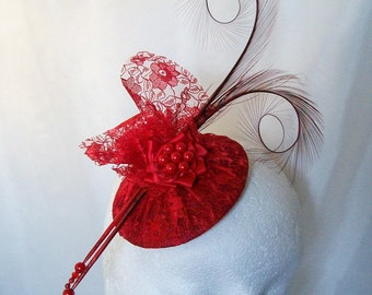 Scarlet Red Pheasant Curl Feather & Lace Covered Diana Wedding Percher Fascinator Mini Hat - Custom Made to Order
