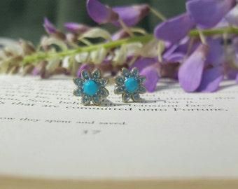 Teal Turquoise Metal Enamel Flower Plugs Gauges 8g 10g t231