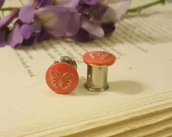 Antiqued Enamel Metal Coral Butterfly Plugs Gauges 0g t248