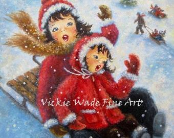 Two Sisters ORIGINAL painting, 11X14, two girls art children sledding, christmas art, girl paintings, snow winter paintings, Vickie Wade art