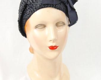 20s Gage Blue Straw Cloche Hat - Demi Cloche - Blue 30s Hat - Blue 20s Hat