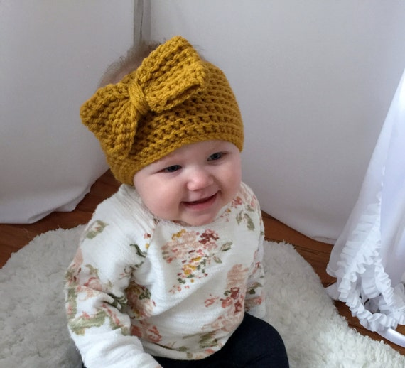 Baby Girl Espadrilles Crochet Pattern : Ribbed Ear Warmer with Bow Crochet Patternbaby to