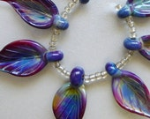 Destash Raku Leaves, 7 handmade glass bead leaves, lampwork beads by Beadfairy Lampwork