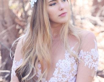 flower hair crown, bridesmaid headpiece, cherry blossom flower crown, flower girls acessory