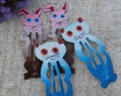 Cats and Rabbits, Vintage Metal Hair Barrettes, Blue Kitten and Pink and Brown Bunny Barrette Sets