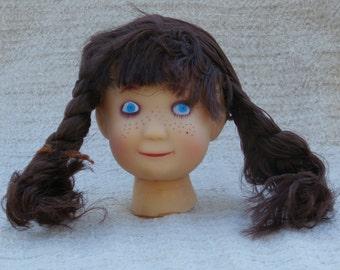 Vintage Doll Head Westrim Craft, Calico Doll Brown Hair, 4 inch Retro Doll Parts