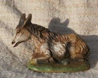 Vintage Gray Donkey Sears Nativity Figure, Italy, 2.5 inches tall, Plaster or Similar