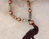 Tibetan dZi Necklace w African Copper and Long Silky Brown Tassel Sleek Coffee Brown Ethnic Bohemian Jewelry