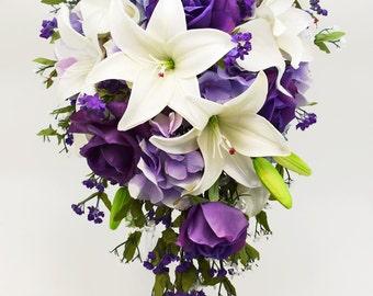 real touch picasso calla lily purple hydrangea bridal bouquet. Black Bedroom Furniture Sets. Home Design Ideas