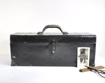 Vintage Metal Toolbox / Tool Carrier / Metal Storage Box / Industrial Storage