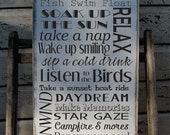 Lake House Rules Sign Rustic Aged Primitive Typography subway sign Customize to your Lake Home Vintage Lake House Decor