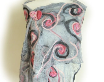 Large Grey Cotton Wrap - Pink and Gray Stole - Nuno Felted Scarves - Plus Size
