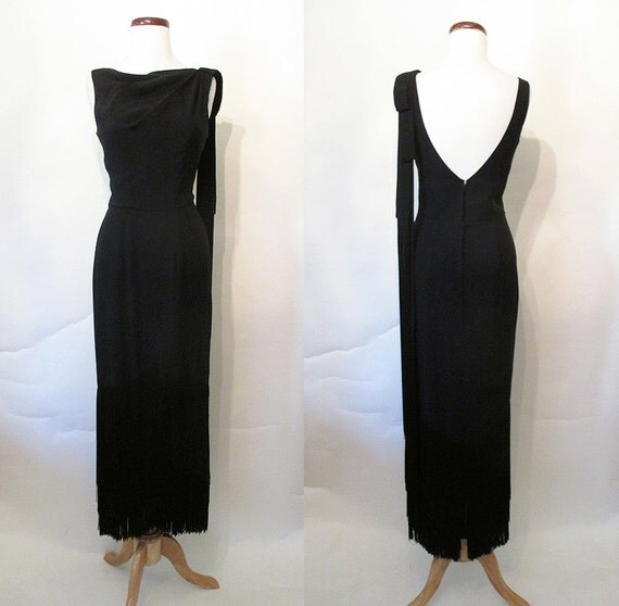 """Jaw Dropping 1950's """"Lilli Diamond"""" Designer Cocktail Dress Formal Gown with Long Fringe Rockabilly VLV Extreme Hourglass Pinup Size-Small"""