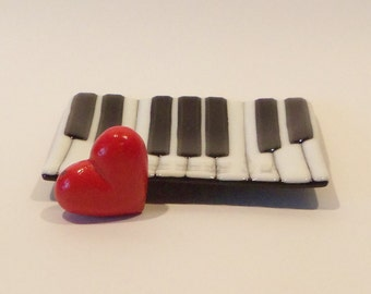 Piano Keyboard Fused Glass Dish Trinket Candy Soap