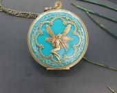 Turquoise Antique brass Fairy Locket Pendant Necklace - Vintage Antique brass Ornately Decorated Pendant Jewelry
