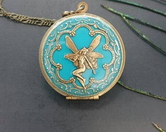 Turquoise Antique brass Fairy Locket Pendant Necklace - Vintage Antique brass Ornately Decorated Pendant Jewelry
