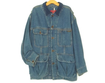 Denim Cargo Jacket * Vintage 90s Jean Jacket * Mens's XL