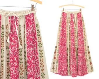 Vintage Rayon Skirt * 90s Maxi Skirt * Batik Print Skirt * Embroidered Skirt * S / M
