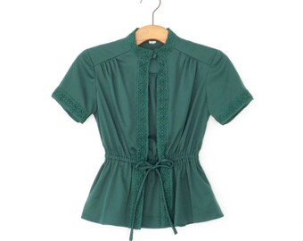 Vintage 70s Blouse * Emerald Green Jacket * Peplum Blouse *  Open Front * Small - Medium