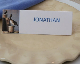 Place Cards/ Name Cards/ Food Tents - Pelicans in Key West, FL -  Set of 6