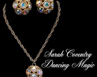 Sarah Coventry Necklace Earrings Set DANCING MAGIC 1960s Aurora Borealis Disco Ball Demi Parure