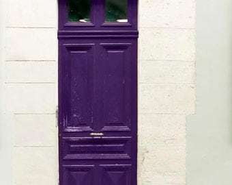 Purple Door, Paris Photography, Plum, Beige, Mint, Purple, Paris Door Photo, Travel Photography, Foyer Decor