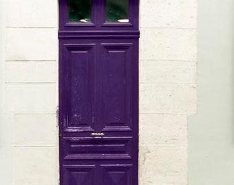 Purple Door, Paris Photography, Plum, Beige, Mint, Purple, Paris Door Photo, Travel Photography, Foyer Decor