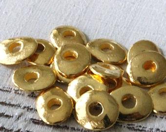 12mm Cornflake Disk - 24K Gold Mykonos Cornflake Beads - Jewelry Making Supply - Wavy Disk Chip - Choose Your Amount