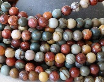 8mm Round SemiPrecious Beads -8mm Picasso Jasper Mala Beads - Jewelry Making Supplies (Choose Size and Amount)