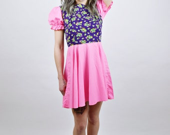 1960-1970 Vtg Flower Child Pastel Neon Pink and Floral Mini Dress XS/SMALL