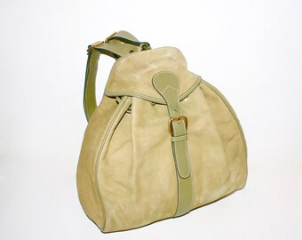 VINTAGE GUCCI Backpack Green Nubuck Suede Leather Large Rucksack -Authentic-
