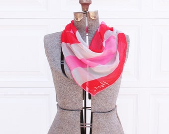Vintage Vera Neumann Scarf with Pink, Red and Grey Stripes