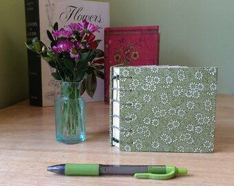 Small handbound journal with green and white flowers. Sketchbook travel journal for mixed media. Coptic journal. Mother's Day gift.