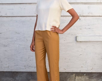 Vintage Silk 1990's Ivory Cream Minimalist Solid Buttoned Back Basic Blouse S/M