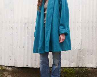 Vintage Minimalist 1990's Turquoise Teal Wool Structural Swing Princess Coat S/M