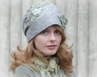 Slouchy Hat Cloche Hat in Stone Gray and Green Lichen Lace