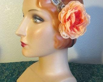 ATS Hair Flower Rose Gold swarovki rhinestone bellydance belly dance cabaret tribal burlesque