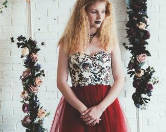 Floral Bordeaux tulle dress / Strapless tea length gown