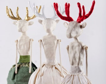 Handmade Art Doll with Antlers, Original, Air Dry Clay, Mixed Media Deer Art Object, Folk Inspired , Mixed Media Sculpture, Poupée, Handmade