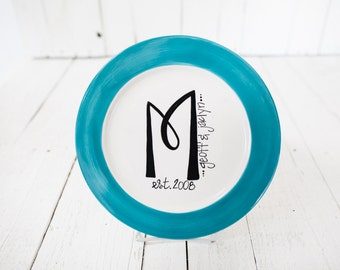 Monogrammed Rimmed Plate - Personalized with Name and Date