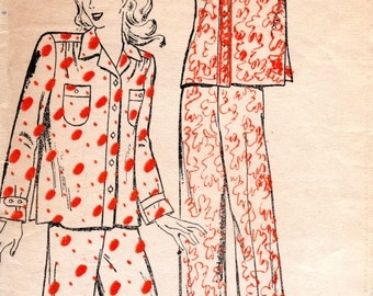 1940s Womens Two Piece Pajamas - Vintage Pattern New York 199 - Size 18 Bust 36