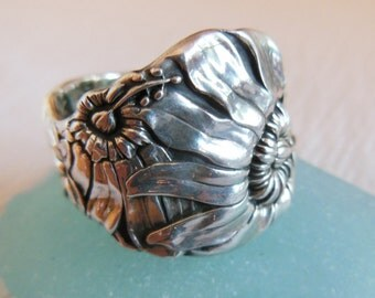 Antique Spoon Ring  Sterling Silver  Size 8