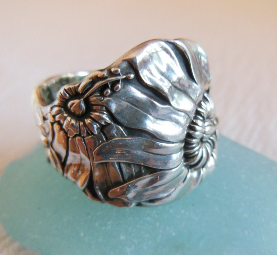 antique spoon ring sterling silver size 9