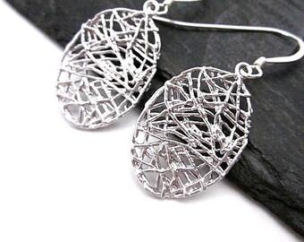 Silver Oval Dangles -- Small Oval Earrings -- Silver Oval Wire Earrings -- Nest Earrings -- Web Earrings -- Flat Oval Earrings -- Oval Drops
