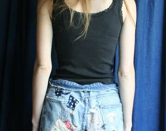 60s Levis Cut Off Denim Shorts / Levi Strauss & Co. Big E Denim Patches Embroidery / Festival / Coachella / Bonaroo / Hangout Fest