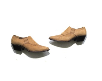 Vintage Ankle Boots 7.5 / Tan Leather Winklepickers / Leather Ankle Booties