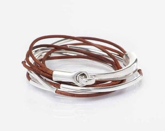 Red Brown, Triple Leather Wrap Bangle Bracelet, Tube Bangle, Half Cuff Hook Clasp - Silver Metal Tubes