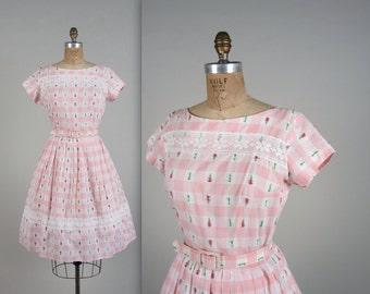 1950s tulip checkered dress • vintage 50s dress • summer cotton dress (SH)